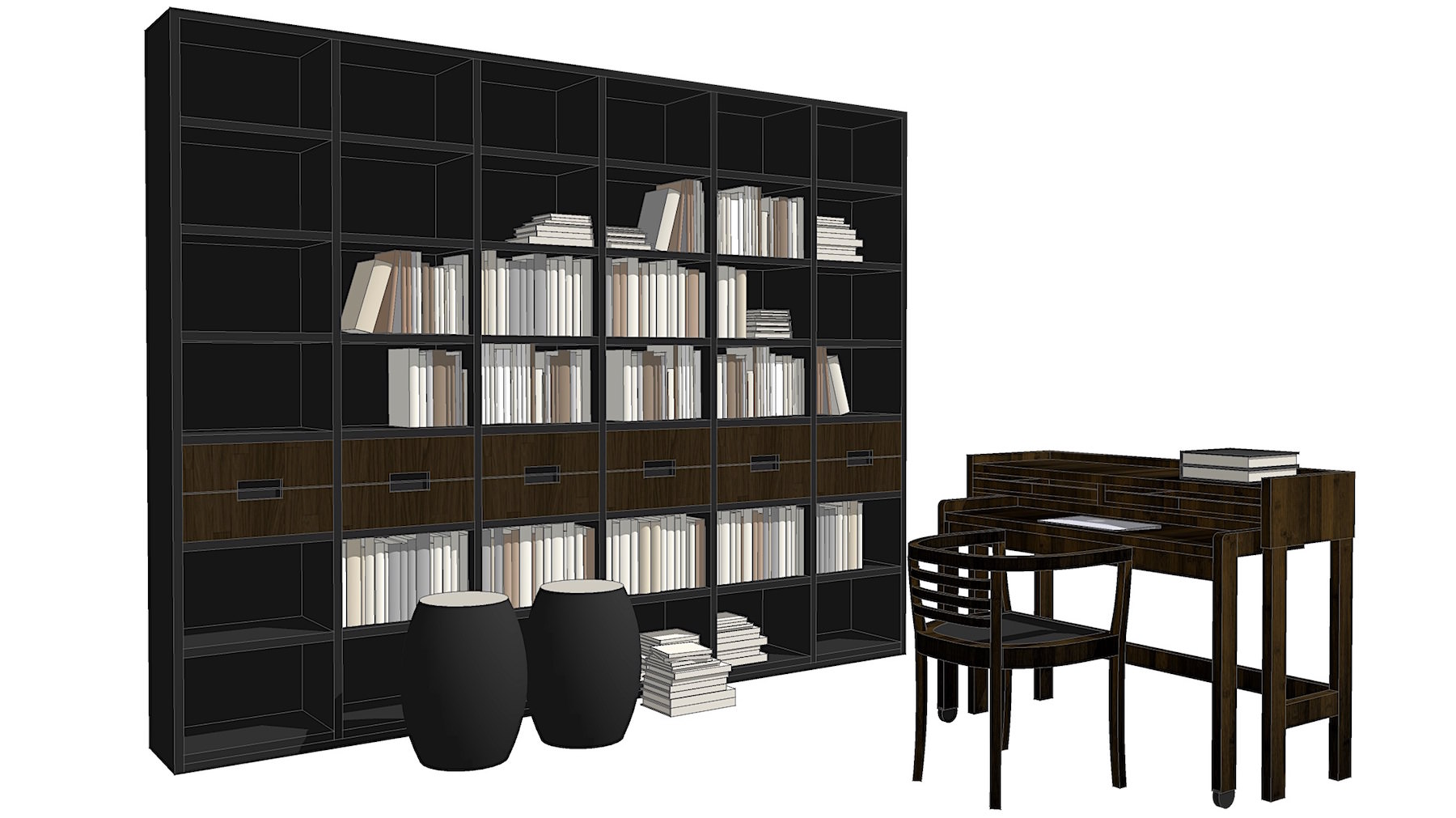 SketchUp 3D book shelves